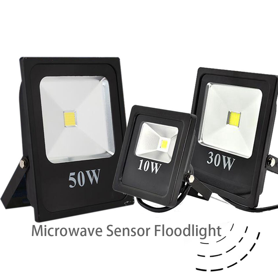 GD Microwave Sensor <font><b>LED</b></font> <font><b>Floodlight</b></font> <font><b>20W</b></font> 30W 50W IP65 Waterproof Spot Lamp AC220V 110V 240V <font><b>LED</b></font> Spotlights Radar Sensor Lamps image