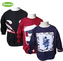 hot deal buy 2018 autumn hot sale cotton long sleeve boys and girls t-shirt ,with cartoon black royal blue jujube red boys clothing