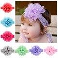 12 unids/lote nueva Baby Girls venda del cordón gasa venda de la flor infantil kids Hair Accessories 12 color Stock 578