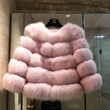 Women s Genuine Fox Fur Coat Real Fur Jacket warm Natural fur coats women winter overcoat