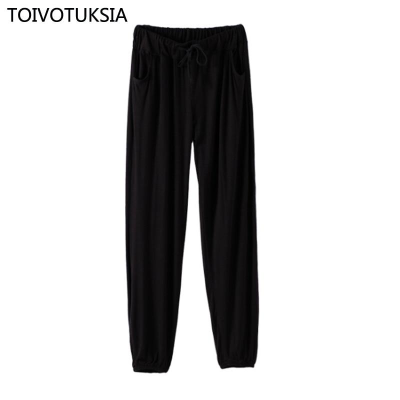 TOIVOTUKSIA Solid Summer Brand Sexy Women Casual Modal Ladies Wide Leg Pants