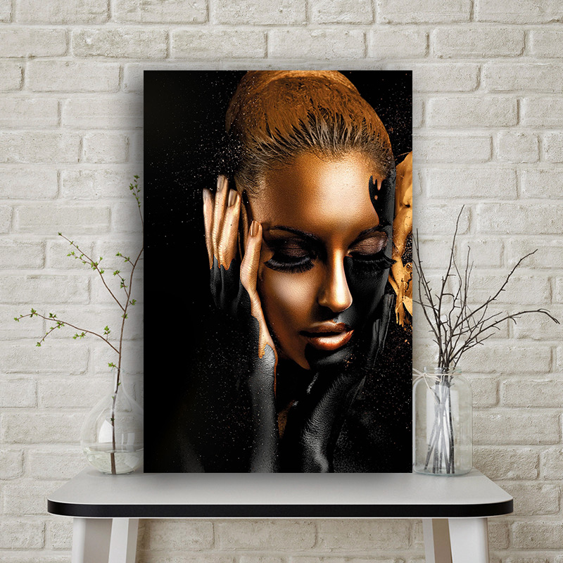 HTB173nYMPDpK1RjSZFrq6y78VXah Black Gold Nude African Art Woman Oil Painting on Canvas Cuadros Posters and Prints Scandinavian Wall Picture for Living Room