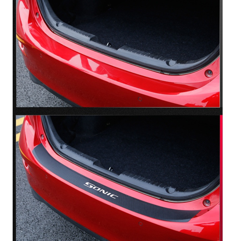 PU Leather Carbon Fiber Styling After Guard Rear Bumper Trunk Guard Plate Car Accessories For Chevrolet Sonic