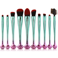 Cosmetic Makeup Brushes Green Handle Colorful Shell Handle Eye Shadow Foundation Powder Beauty Brushes Maquiagem Tool