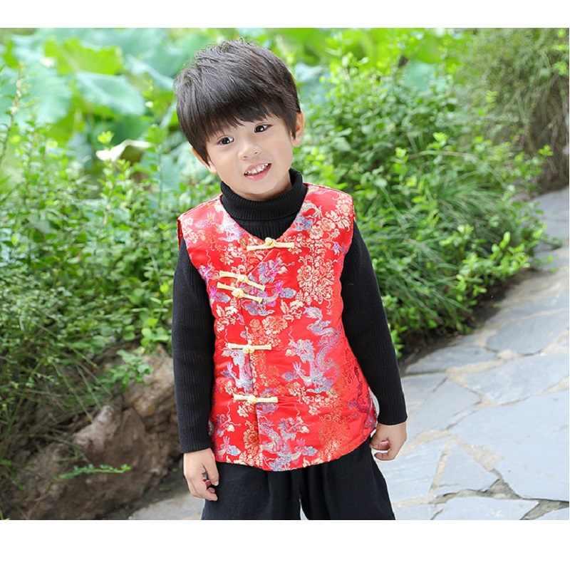 冬子供チョッキ 2019 中国新年男の子ベストジャケット子供唐服チャイナ衣装ノースリーブトップ