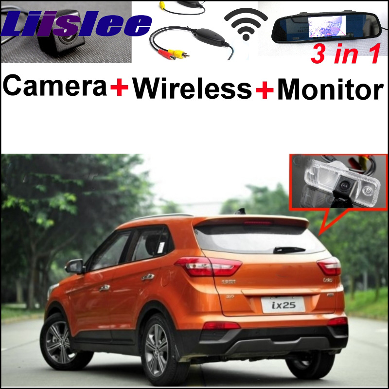 Mirror Monitor Easy DIY Back Up Parking System For Hyundai ix25 2014~2015 + 3 in1 Special Rear View Camera + Wireless Receiver 3 in1 special wifi rear view camera wireless receiver mirror monitor easy diy parking system for chevrolet malibu 2012 2014