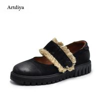Artdiya Original Retro Flax Rope Women Shoe Genuine Leather Thick Soles 2018 New Comfortable Handmade Shoes