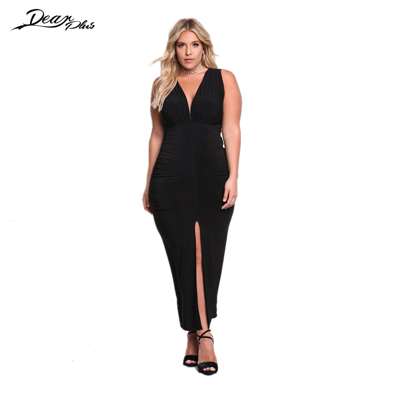 Women Elegant Evening Party Plus Size Long Dress Sleeveless ...