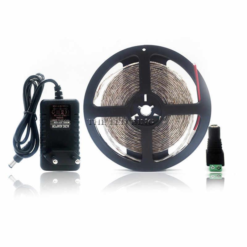 5M Rgb Led Strip Licht 2835 Smd Diode Rgb Tape Waterdichte Flexibele Led Lint 60D/M + DC12V power Adapter