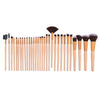 2017 32 Pcs Coffee Gold Makeup Set Professional Cosmetic Makeup Brush Set Nylon Hair Brush For