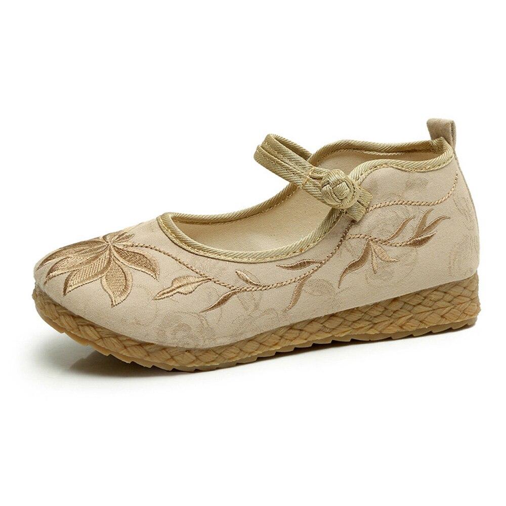 En Tissu Boho Chaussures Toile Beige rouge Bout Souple Tissé Plat vert Rond Lin Ballet Vintage Coton Brodé National De Femmes q08141