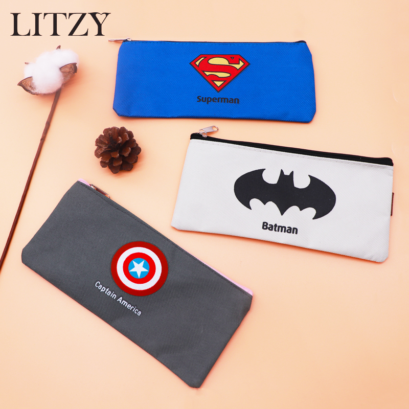 Hot Superhero Batman Pencil Case Anime Big Capacity Oxford Cloth Pencil Bag Box Stationery For Kids Boys School Supplies Tool