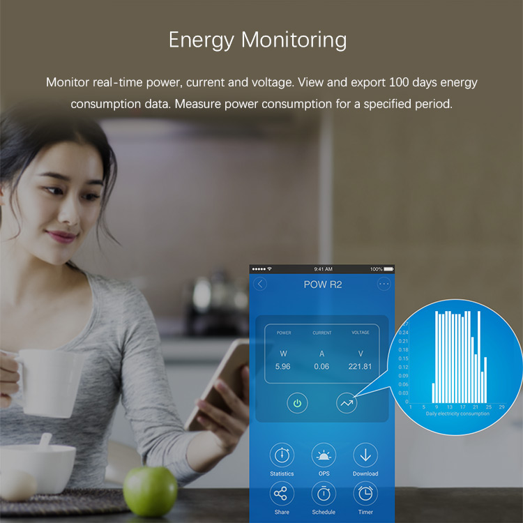 SONOFF POW R2 15A 3500W Wifi Switch Controller Real Time Power Consumption Monitor Measurement For Smart Home Automation 5
