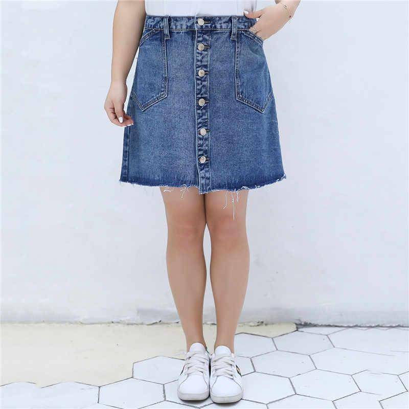 Denim Skirt High Waist A-line Mini Skirts Women 2019 Summer Summer Plus Size Black Skirt Single Button Pockets Blue Jean Skirt