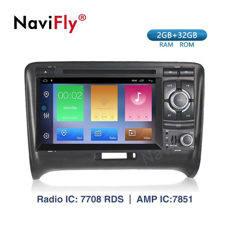 Lecteur multimédia de voiture Navifly 8core 2 + 32GB autoradio GPS Android 9.1 pour Audi/TT 2006-2012 Canbus DDR3 Bluetooth Wifi DVR