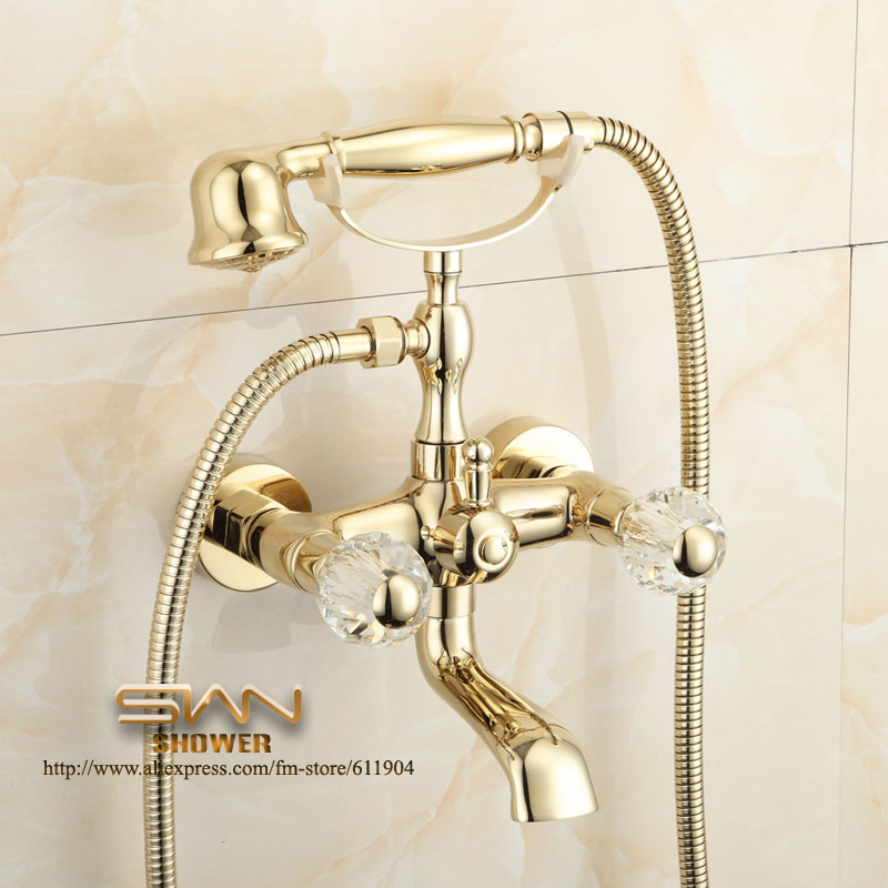Gold Color Bathroom Clawfoot Bathtub Faucet Handheld Shower Head