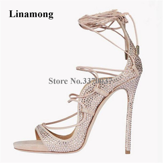f14016deea07 Spring New Fashion Bling Bling Open Toe Rhinestone Gladiator Sandals Lace-up  Crystal High Heel Sandals Wedding Shoes
