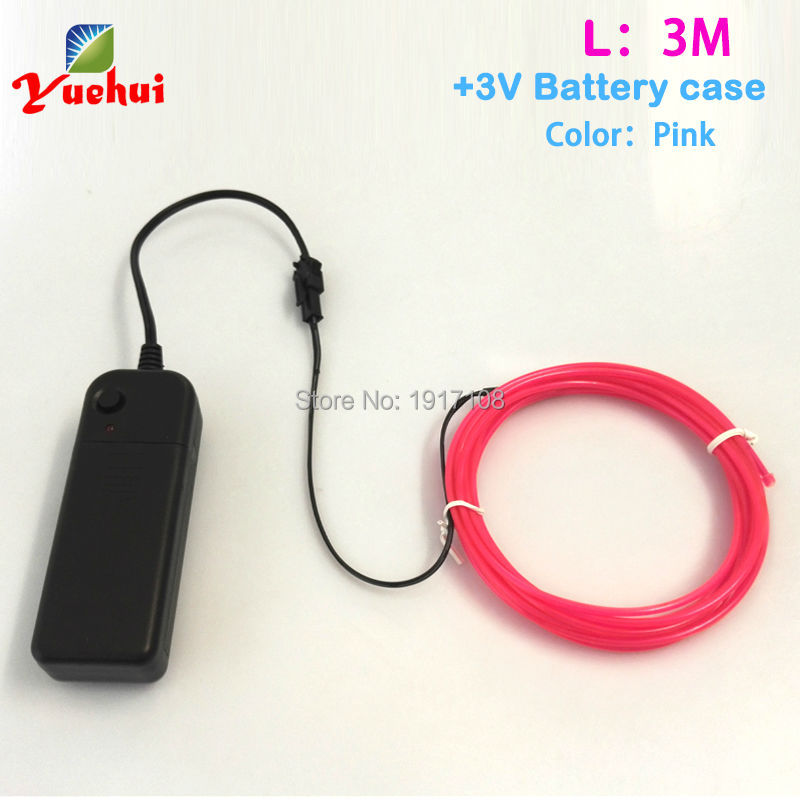 2.3mm 3metres Pink EL Wire Colorful Tube Rope Flexible Neon Cold Light Car Party Wedding Decor With Battery Powered Controller