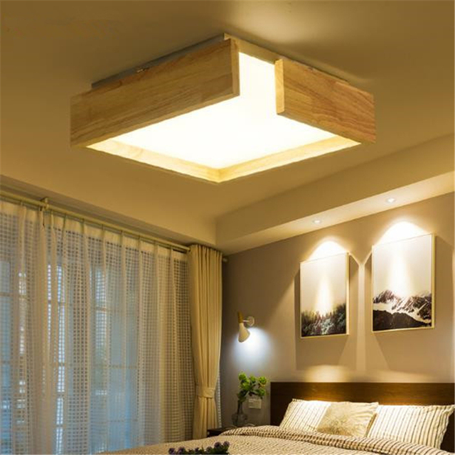 Ceiling Light Japanese: Japanese Simple LED Solid Wood Living Room Ceiling Light