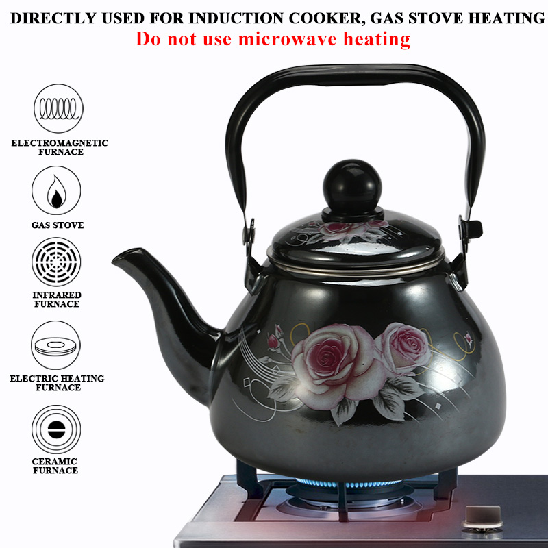 1 1 L Chinese Traditional Enamel Water Kettle with Funnel For for Gas and Induction Cooker Home Tea Pot in Water Kettles from Home Garden