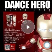 Музыкальный танец Железный человек фигурка игрушки Tony светодиодный фонарик Мстители Iromen герой качели Marvel электронный подарок homem de ferro