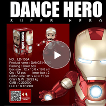 Music Dance Iron Man Action Figure Toys Tony LED Flashlight The Avengers Iromen Hero Swing Marvel