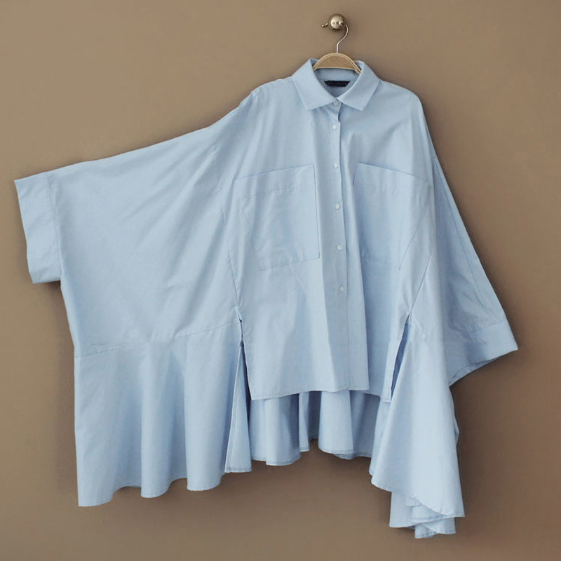 Pockets Blouses Pleated Clothes