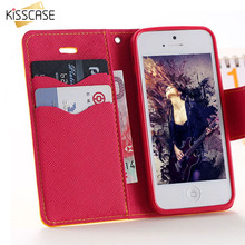 KISSCASE Case for apple iphone 5 5S SE 5C 4 4S Luxury Leather Phone Cover Wallet Stand Card Slot Holder Phone Flip Cover Coque