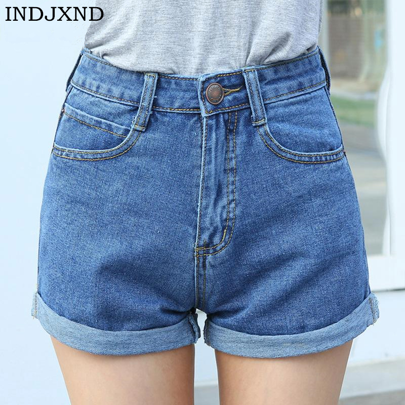 INDJXND 2018 New High Waist A Word Pocket Denim Shorts Womens Tide Casual Crimping Zipper Summer Women Shorts Jeans Large Size