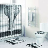Fleece Toilet Mat Accessories Shower Curtain Set and Rug Sets Elephant Carpet Bathroom Anti Slip 3D India Home Decor Bath Mat