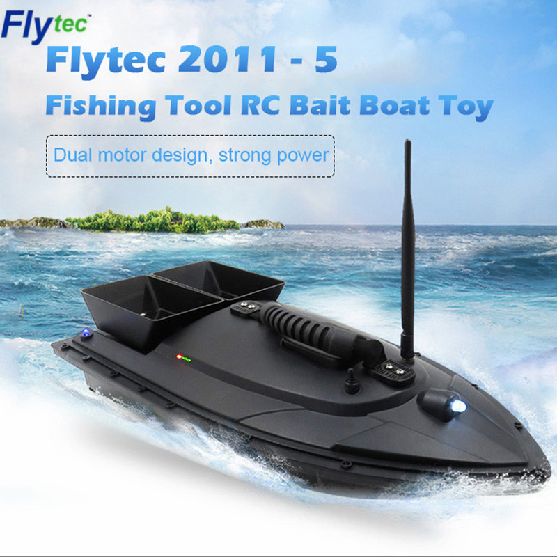 Flytec 2011-5 Fishing Tool Smart RC Bait Boat Toy Digital Automatic Frequency Modulation Remote Radio Control Device Fish Toys image