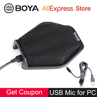 BOYA BY MC2 Conference Microphone Super cardioid Directional Condenser Mic Monitoring Jack for Mac Window Computer PC Laptop USB