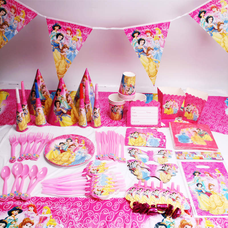 Six Princess 216/276 pcs Disposable Tableware Sets Boys&Girls Birthday Party Event Decorations Supplies Baby Shower Cups Napkins