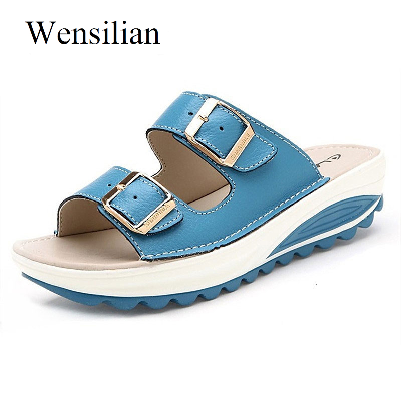 Summer Women Sandals 2018 Slip On Sandals Ladies Slides Wedges Slippers Shoes Buckle Strap Platform Beach Shoes Zapatos Mujer 2016 summer patent leather buckle slides for women fashion stone upper flat platform ladies casual beach slippers sandals shoes