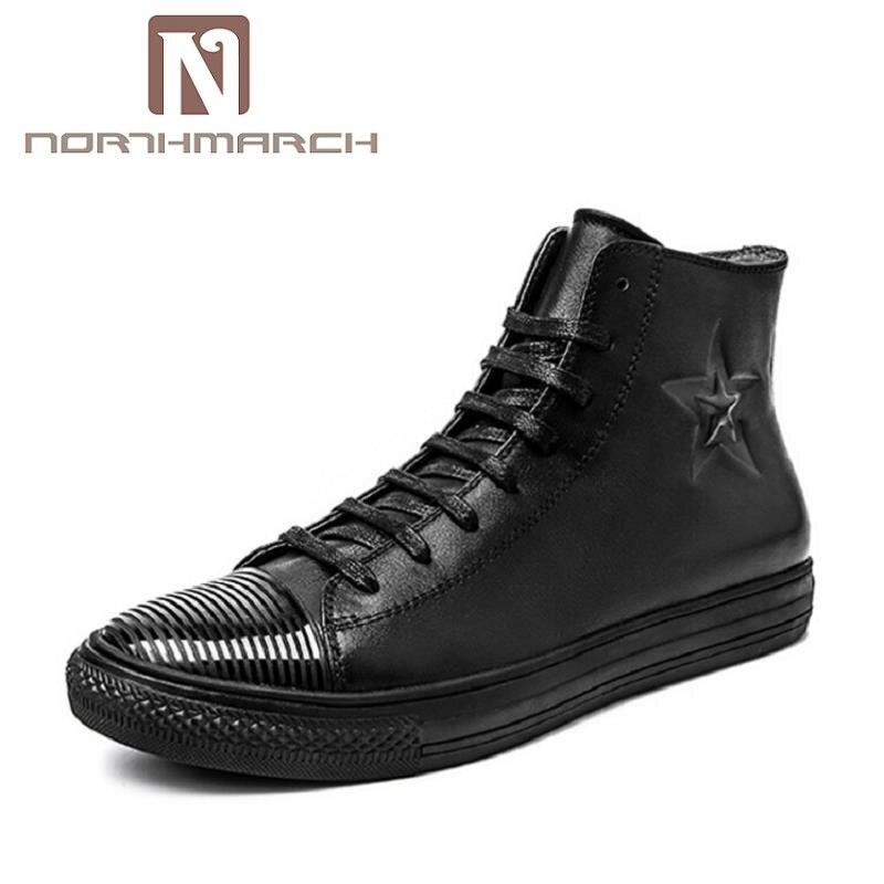 NORTHMARCH Autumn Men Breathable High-Top Lace Up Shoes Men's Flat Espadrilles High Quality Comfortable Black Men Shoes стоимость