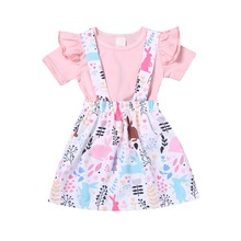 цена на MrY Baby Girls Frill Tops Dress Short Sleeve Skirt Outfits Clothes T-shirt Blouse Set Cartoon Birthday Dress Summer Kids Girl Clothe