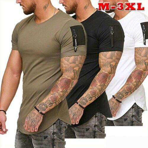 Moda masculina Slim Fit O Pescoço de Manga Curta Tee Muscular Venda Quente T-shirt Casual Tops Homens Camiseta Roupa do Verão