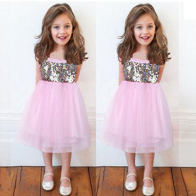 e5a317e1e NEW Kid Toddler Baby Girl Clothes Sequins Fancy Tutu Dress Party Dress  Princess