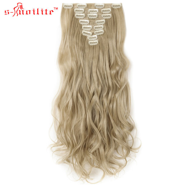 Snoilite 17inch Synthetic Curly Long Ponytail Clip In Hair