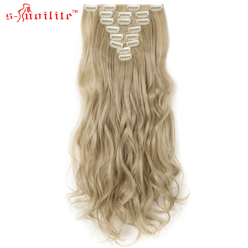 SNOILITE 17inch Synthetic Curly Long Ponytail Clip In Hair Extensions Natural Black Heat Resistant Hairpiece