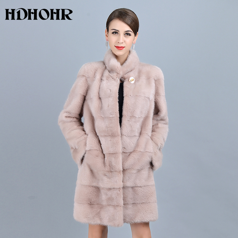 HDHOHR 2018 New Natural Mink Fur Coats Of Women Good Quality Pink Genuine Fur Parkas Thick Warm Winter Real Mink Jackets Female