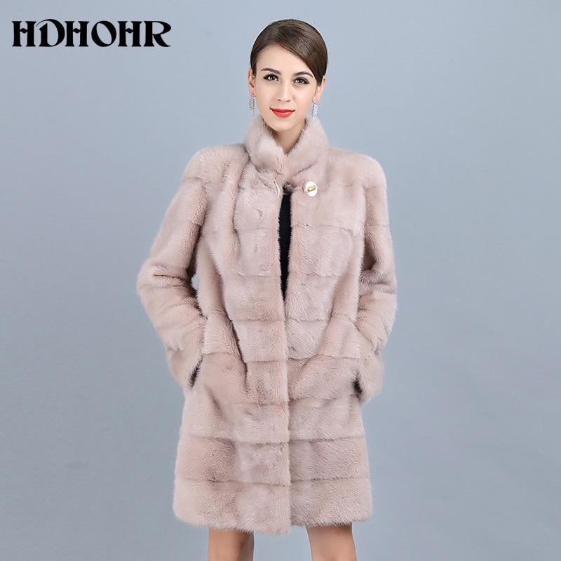 HDHOHR 2019 nouveau naturel vison fourrure manteaux de femmes bonne qualité rose véritable fourrure Parkas épais chaud hiver réel vison vestes femme