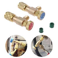 2PCS Quick Coupler R410A R22 Filling Refrigerant Automobile Control Safety Air Conditioning Adapters Connector Sealed