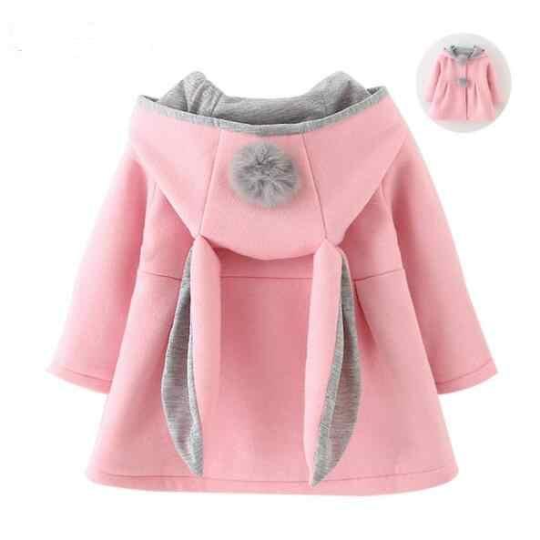 de046a0adaa Дети Банни зима теплая куртка для девочек с рисунком кролика осень милые  пальто Дети верхняя одежда