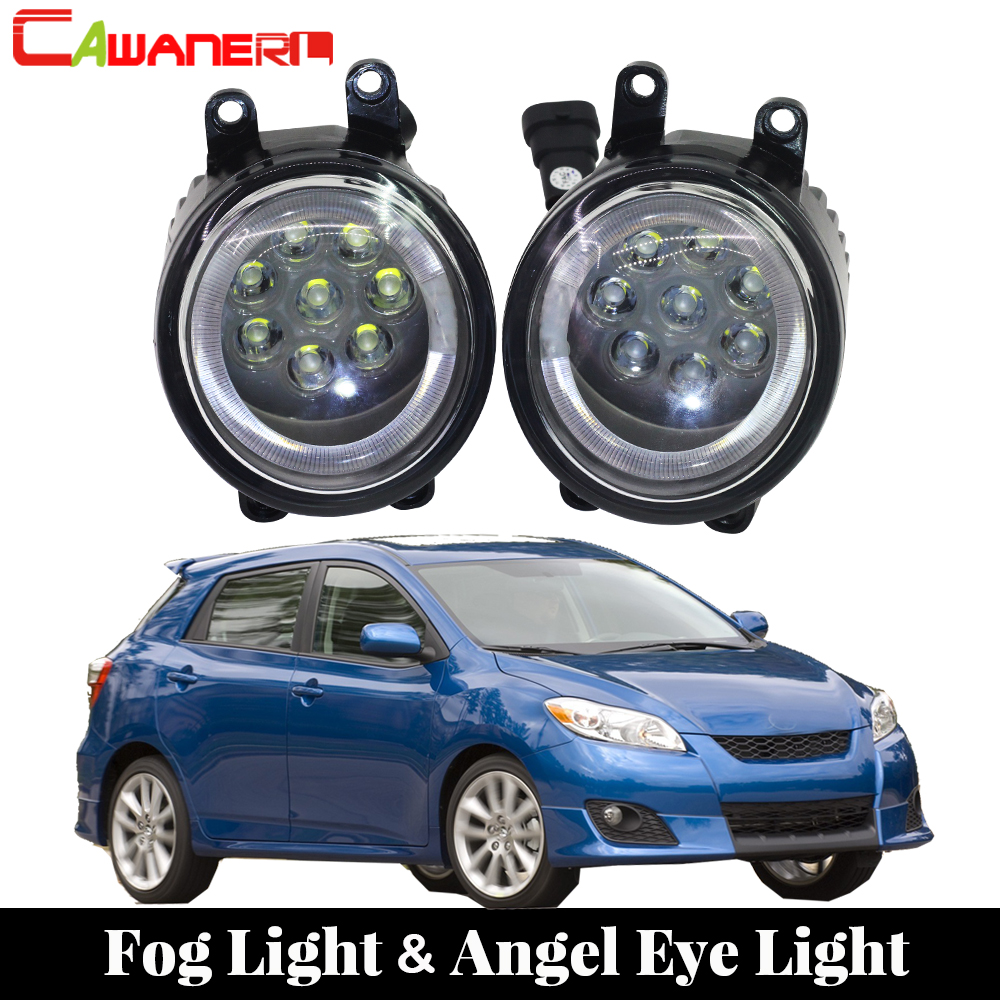 Cawanerl For Toyota Matrix 2008 2009 2010 2011 2012 2013 Car LED Lamp Fog Light Angel Eye DRL Daytime Running Light 12V 1 Pair ecahayaku 1set 12v waterproof daytime running light drl fog lamp with fog hole for ford focus hatchback 2009 2010 2011 2012 2013