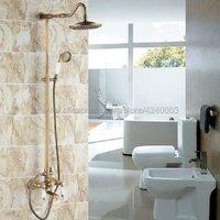 Antique Brass Shower Faucets Set 8'' Rainfall Shower Head Handle Shower Mixer Tap Swivel Tub Spout Bath Shower Set Krs118
