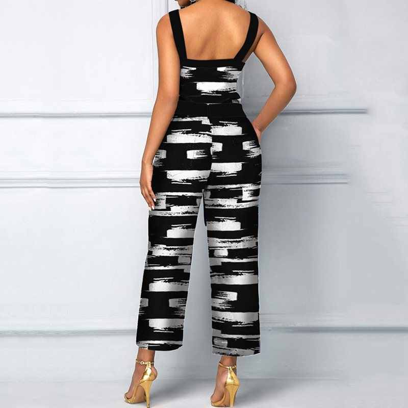 África casuales, Sexy, para Club negro elegante Oficina mujer monos Slim Print Plus tamaño vestido de verano Mujer moda Pantalones