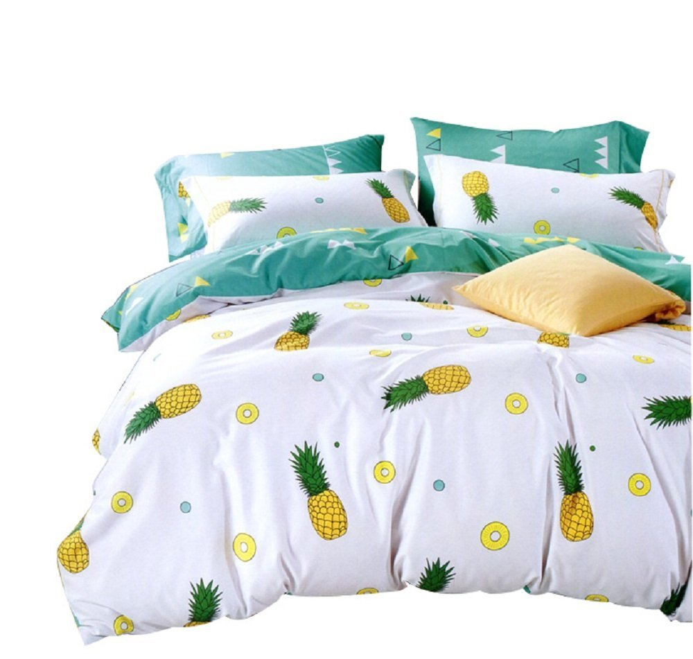 Winlife Pineapple Bedding Set 100 Cotton Duvet Cover With