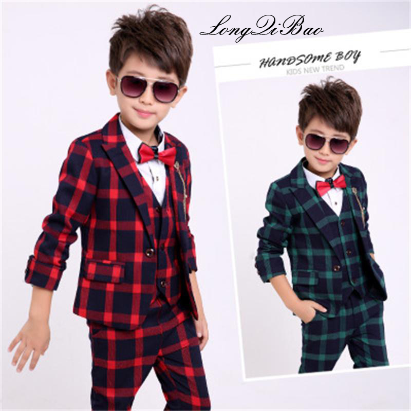 High quality flower boy boy cotton plaid suit jacket vest pants 3 piece suit suit children gentleman party clothing suit children s suit 2018 fashion england wind children s clothing autumn and winter boy plaid suit performance clothing