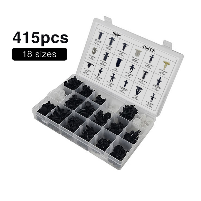 18 Kinds Mixed 415PCS Auto Fastener Car Universal Bumper Fixed Clamp Push Type Clip for Automobile Series Fastener
